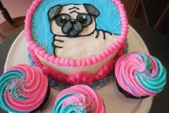 pink blue swirl pug cake