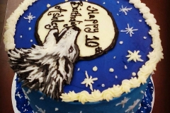 wolf in night sky cake