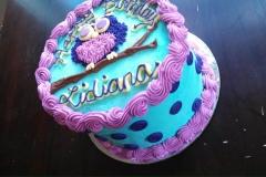 purple owl on branch cake
