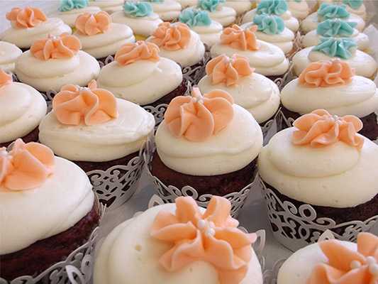 Wedding Cupcakes with Lace Wrappers.